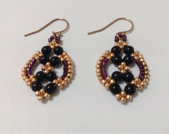 Annette Earrings Kit - Black, gold & red