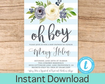 Oh Boy Baby Shower Invitation, Blue Boho Floral Watercolor, Baby Boy Shower  Invite, Editable Baby Shower Template, Templett Instant Download