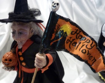 Witch - OOAK Polymer Clay Witch  - 9 inches tall, hand sculpted doll -  Halloween witch