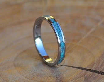 Stainless Steel Ring for Women and Men with Turquoise Inlay