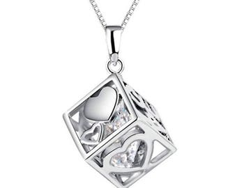 """Solid Silver Necklace with """"Lucky in Love"""" Cube Pendant Charm"""