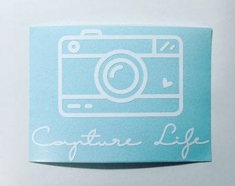 Capture Life Vinyl Decal // Photographer Decal, Photography Decal, Laptop Decal, Tablet Decal, Phone Decal, Car Decal, Camera Decal