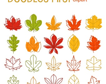 Autumn Leaves With Outlines Clip Art for Scrapbooking Card Making Cupcake Toppers Paper Crafts