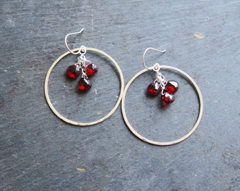 Garnet Hoop Earrings in silver or gold | Garnet Earrings | Garnet birthstone earrings | January birthstone earrings | Garnet Birthstone