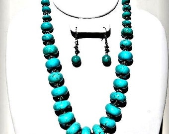 Turquoise Necklace Set Chunky Natural Stones Southwest Design VeeRamz Jewelry