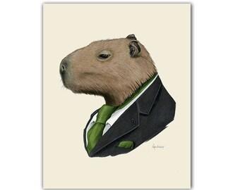 Capybara animal print - modern kids art - unique baby gift - animals in clothes - animal artwork  - by Ryan Berkley 5x7