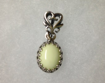 Lemon Chrysoprase Pendant- Feminine Crown set on swinging bail.  solid sterling silver. Hand Made in USA by me. 8x10 mm Yellow natural Girly