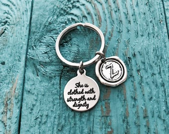 Christian, Proverbs 31:25 Scripture, Faith, Silver Keychain, For she shall be clothed in strength and dignity, Silver Keyring, Gift, healing