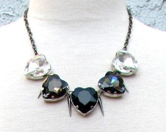 Spiked Monochromatic Hearts Necklace - Large Sparkling Crystal Heart Collar Necklace w/ Crystal, Black Diamond, & Jet Black Pendants