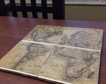 Vintage Map Coaster Set