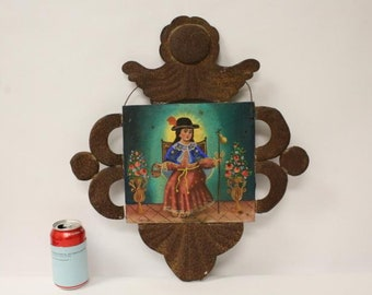 Vintage Mexican Tin Retablo with Painted Santo Nino Atocha