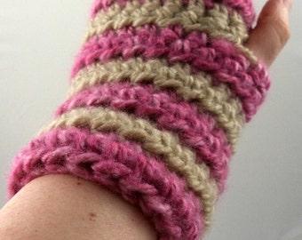 Pink and Tan Striped Crocheted Wrist Warmers (size S-M) (SWG-WW-SJ05)