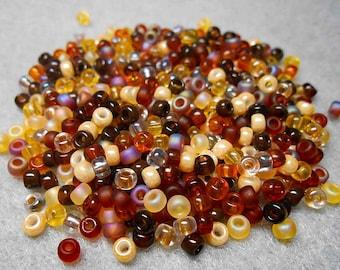 8/0 Miyuki Seed Bead Mix, 25 grams, Topaz /Brown (0005)