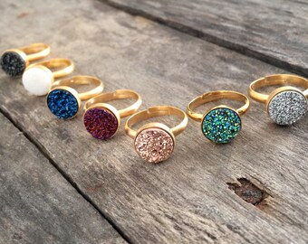 Druzy Ring, Rose Gold Druzy Ring, Titanium Druzy Ring, Rose Gold Ring, Gold Ring, Statement Ring