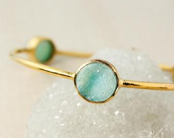 Gold Aqua Blue Druzy Bangle - Agate Druzy Bangle - Geode Bracelet