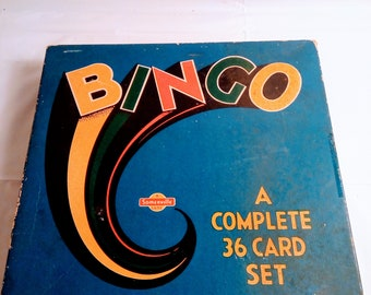 Vintage 1960's Bingo 36-card board game #S-254 made by Somerville in London, Ontario, Complete