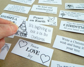 Christmas Traditions ~ Printable Advent Calendar Daily Quotes ~ Fillers, Inserts, Gift Tags, Labels