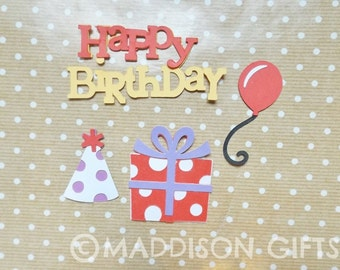 Happy Birthday Card Toppers Scrapbooking Embellishments Birthday Paper Craft Supplies