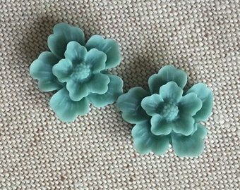 12 pcs of sakura flower cabochon-22mm-rc0166-19-turquoise blue