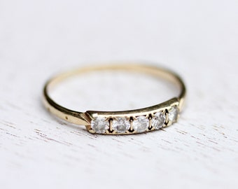 Diamant-Band-Gold, Diamant-Ring, Diamant-Band-Ring, Goldring, Gelb-Gold-Diamant-Ring, 14K-Diamant-Ring, gelbe Diamant-Ring, Größe 7