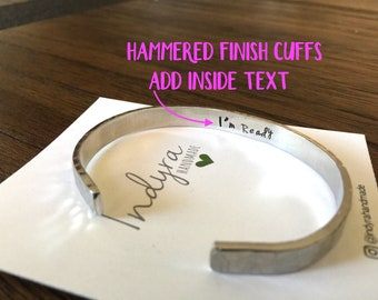 Add inside text- Cuff bracelet- Custom- Hammered bracelet- Secret message cuff- GIFT