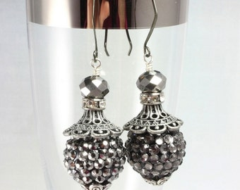 Silver Black Long Dangle Earrings, Pave Bead Earrings, Sparkle Earrings, New Years Eve, Prom