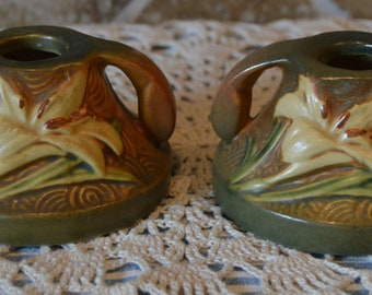 """Roseville 1162-2""""~Set of Two Candleholders~Zephyr Lily Brown Sienna~One Has Tiny Chip"""