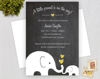 Elephant Chalkboard Baby Shower Invitation / Yellow Chalk Little Peanut  / Gender Neutral Design / PRINTABLE INVITATION / #10255
