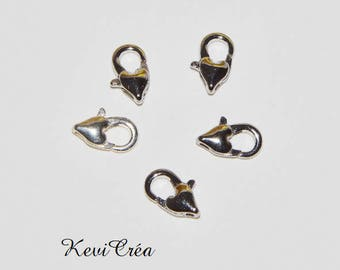 10 x heart silver metal clasps