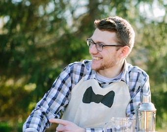 Apron, Bow Tie, present, grilling apron, menswear, housewarming gift, kitchen decor