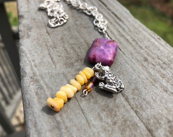 Frog pendant necklace, bohemian necklace, nature necklace, frog necklace, gypsy necklace, hippy necklace, purple stone necklace, frog charm