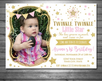 Rhymes invitation etsy twinkle twinkle little star birthday invitation printable file pink and gold filmwisefo Choice Image
