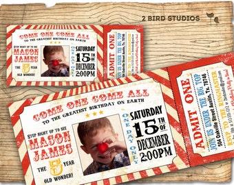 Circus invitation with photo - Vintage circus birthday invitation -   DIY circus or carnival ticket invite - printable invitation