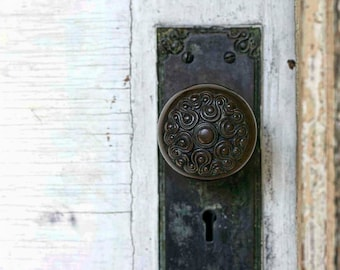 Photo of Detailed Vintage Doorknob - 5x7 Architectural Detail Photo Art - Pretty Old Black Lockset Photo - Weathered White Door Wall Art