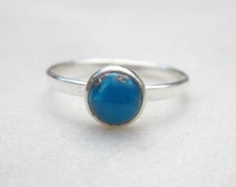 Dainty turquoise ring, gemstone stacking ring, minimal sterling silver solitaire ring, small gemstone ring, simple 6mm stone stacking ring