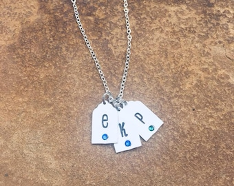 Initial birthstone tags necklace