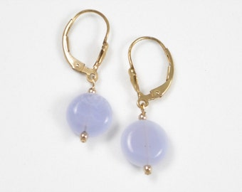 Bridesmaid Wedding Blue Chalcedony Drop Earrings