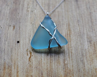 Blue Frosted Glass and Silver Wire Unique Pendant Necklace Made from Recycled Bombay Sapphire Gin Bottles (Perfect Gift Under 10)