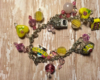 Yellow and Pink Charm Bracelet, Handmade