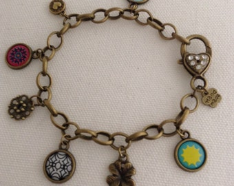Simply Charming Mixed Charms Antiqued Bronze Bracelet