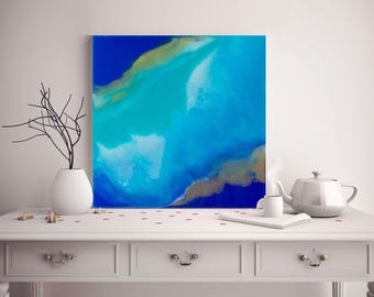 Abstract Painting Acrylic Painting Seascape Painting Ocean Painting Abstract Wall Art Resin Art Home Decor Blue Gold Coastal Wall Decor