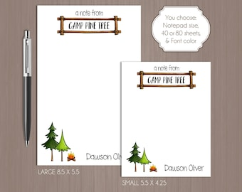 Camp Notepad . Personalized Note Pad .  Camper Note Pad . Summer Camp Notepad . Custom Notepad . Outdoor . Note from Camper Note Pad