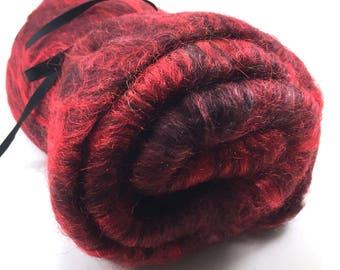 Spinning Fiber - Smooth Batt - Alpaca, Silk, Firestar - Black Cherry - 4 oz