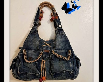 Vintage Blue Jean bag Shoulder bag , purse , has many pockets and wonderful details  Made by Butterfly