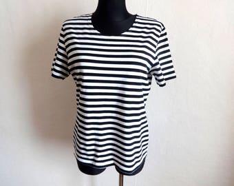 MARIMEKKO Black & White Striped T- Shirt Cotton Jersey Nautical Top Women's Tee Finnish Clothing Marimekko Designs M Size  Vintage T Shirt