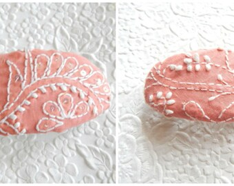 Peach white embroidered hair barrette, ponytail clip for thick hair