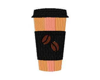 Coffee Cup Machine Embroidery Design - Instant Download