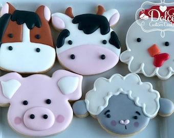 Farm Barnyard Animals Cow Pig Horse Chicken Lamb First Birthday Cookies