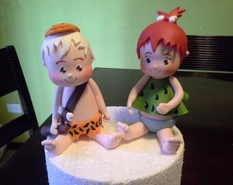 Pebbles and Bam Bam Set Cold Clay Cake Topper Figurine