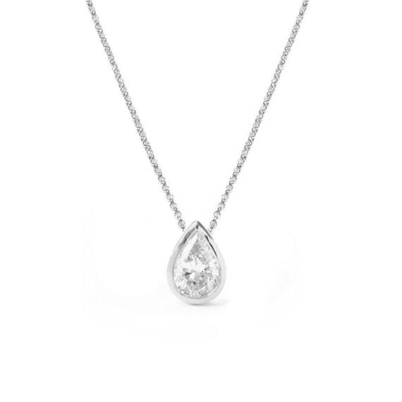 Pear diamond pendant necklace teardrop diamond bezel setting like this item aloadofball Images